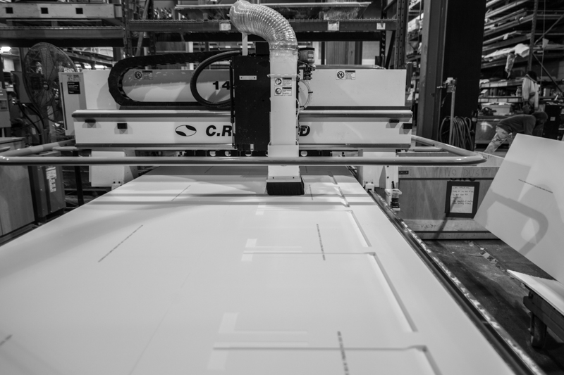 solid surface shelf cnc fabrication