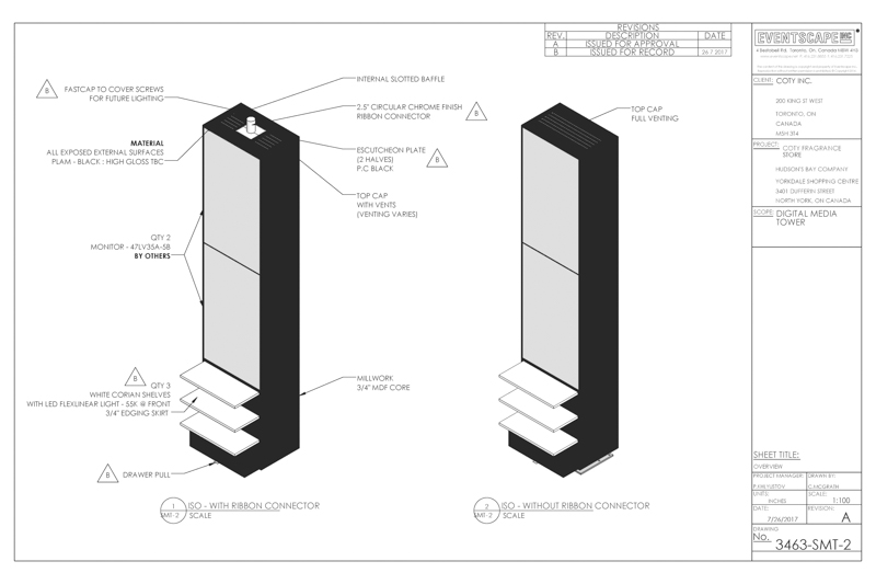retail digital display tower drawing